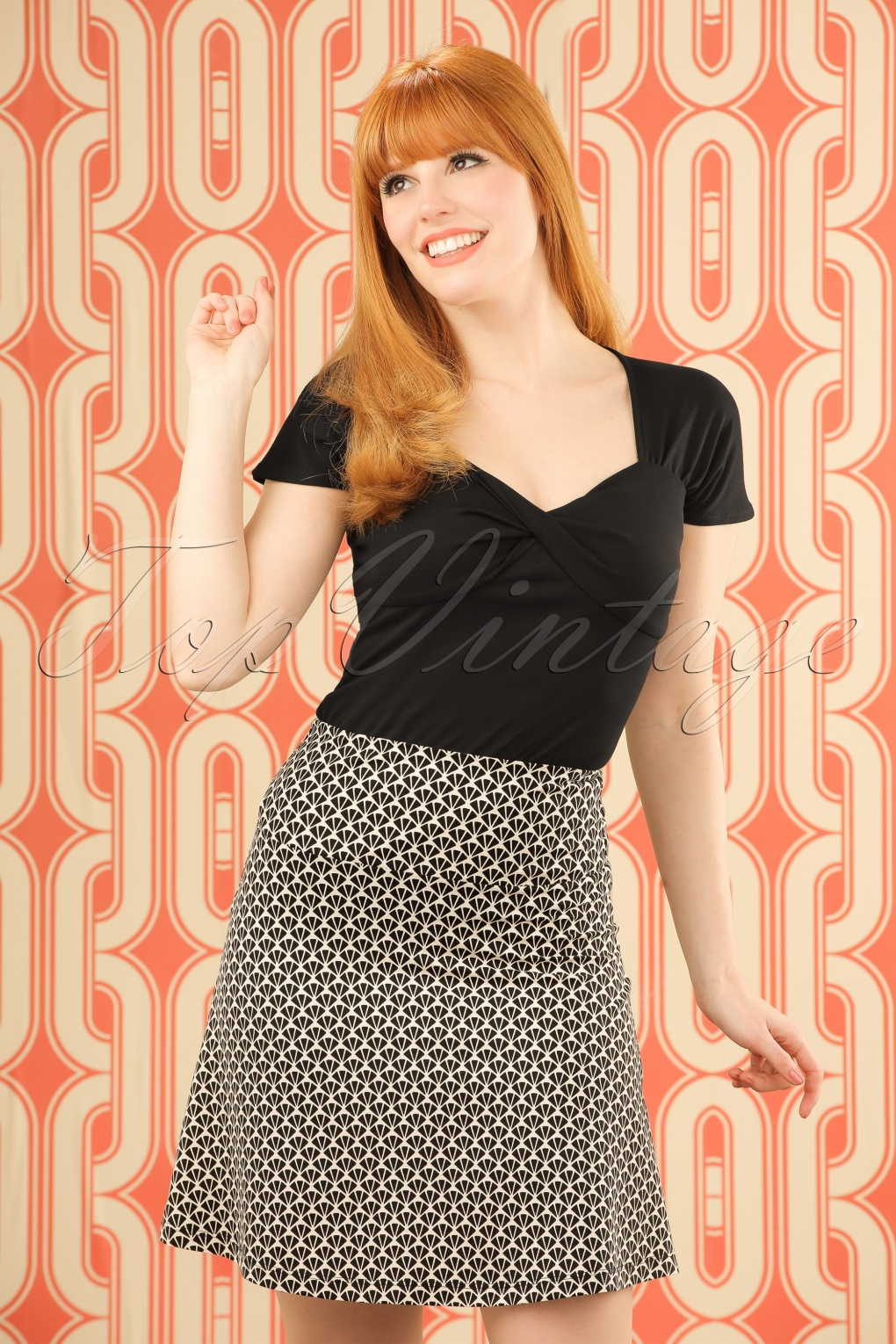 Retro Skirts: Vintage, Pencil, Circle, & Plus Sizes 60s Icono Borderskirt in Cream £50.91 AT vintagedancer.com