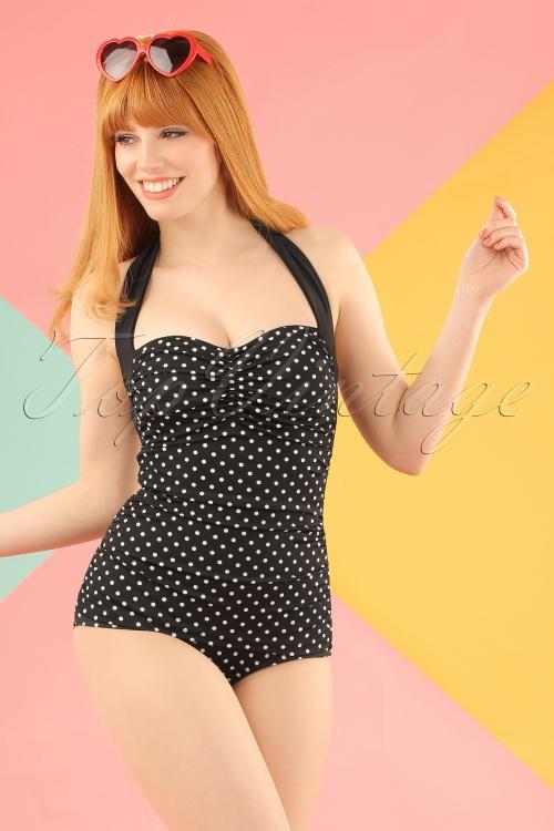 Bunny 50s Hannah Swimsuit Black White Polkadot 161 14 15365 20150608 1W