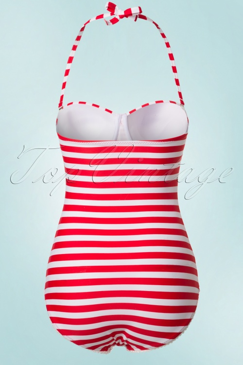 50s nancy stripes halter swimsuit in red and white. Black Bedroom Furniture Sets. Home Design Ideas
