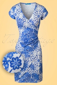 60s Buenos Aires Delft Dress in Blue