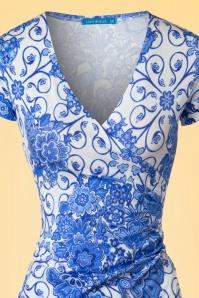 Lien & Giel 60s Buenos Delft White Floral Dress 106 59 19934 20170208 0001V