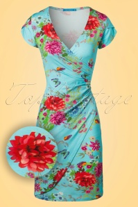 60s Buenos Aires Butterfly Dress in Turquoise