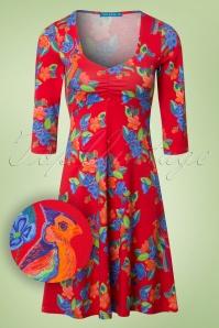 60s Suuz Parrot Geranium Dress in Red