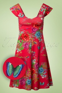 60s Amy Butterfly Geranium Dress in Red