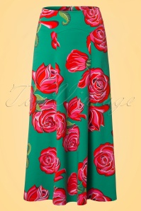 70s Ibiza Roses Maxi Skirt in Jade