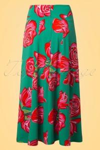 Lien & Giel Roses Jade Ibiza Maxi Roses Skirt 129 49 19938 20170208 0001W