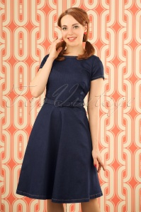 60s Betty Denim Dress in Ink Blue
