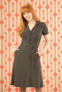 60s Bibi Striped Dress in Black and Beige