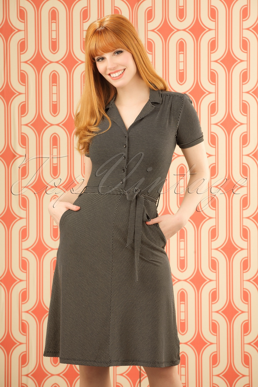 1960s Style Dresses- Retro Inspired Fashion 60s Bibi Striped Dress in Black and Beige £69.93 AT vintagedancer.com
