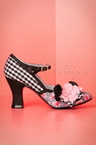Ruby Shoo Dee Pump in Black with Pink Flowers 402 14 19819 20170207 0006W