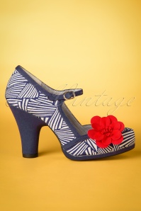 60s Tanya Pumps in Navy and White