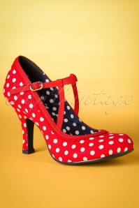 50s Jessica Ankle Strap Pumps in Red Polkadots
