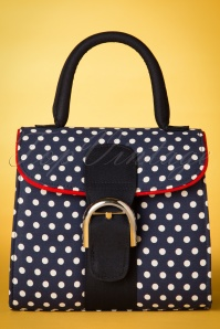 60s Riva Polkadot Bag in Navy