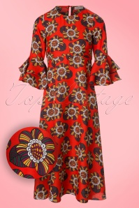 Traffic People 70s Red Floral Maxi Dress 106 27 19871 20170210 0003W1