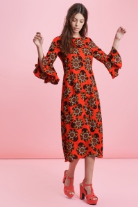 70s Luck Be A Lady Flower Midi Dress in Tangerine