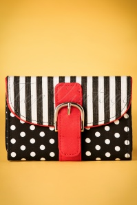 60s Garda Stripes Dots Purse in Black and White