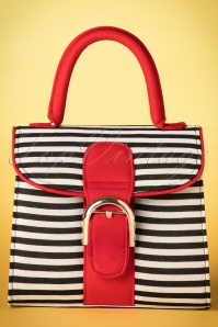 60s Riva Stripes Bag in Black and White