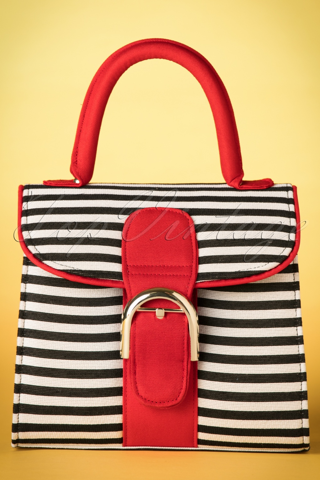 Retro Handbags, Purses, Wallets, Bags 60s Riva Stripes Bag in Black and White £42.42 AT vintagedancer.com