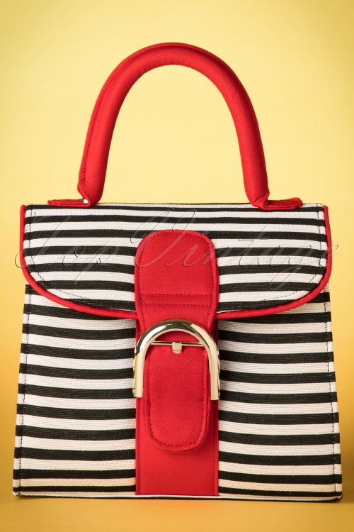1960s Accessories- Scarves, Sunglasses, Bags, Hats 60s Riva Stripes Bag in Black and White £43.31 AT vintagedancer.com