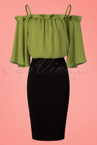 Traffic People Green Off Shoulder Top 113 40 19870 20170210 0011w