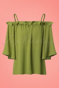 70s Feel The Breeze Bardot Top in Green
