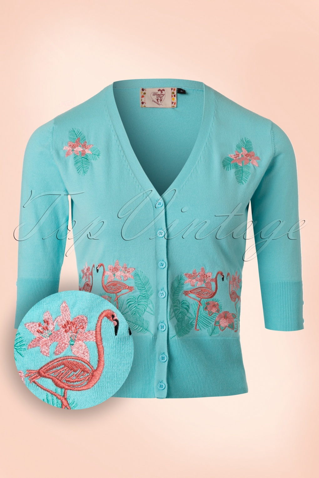 Retro Vintage Sweaters 50s Face To Face Flamingo Cardigan in Light Blue £39.05 AT vintagedancer.com