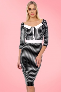 Dancing Days by Banned Black and White Striped Pencil Dress 100 14 20979 20170213 2