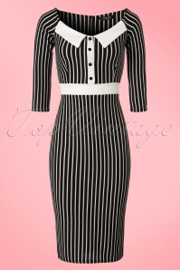 Dancing Days by Banned Black and White Striped Pencil Dress 100 14 20979 20170213 0001W