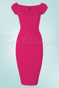 50s Louisa Pencil Dress in Magenta