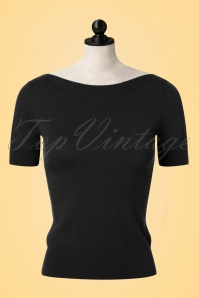 50s Audrey Cottonclub Top in Black
