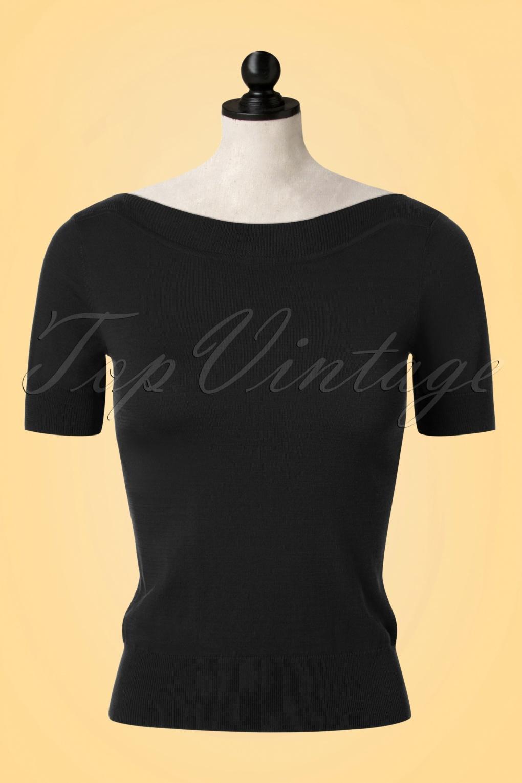 Vintage & Retro Shirts, Halter Tops, Blouses and more 50s Audrey Cottonclub Top in Black £52.08 AT vintagedancer.com