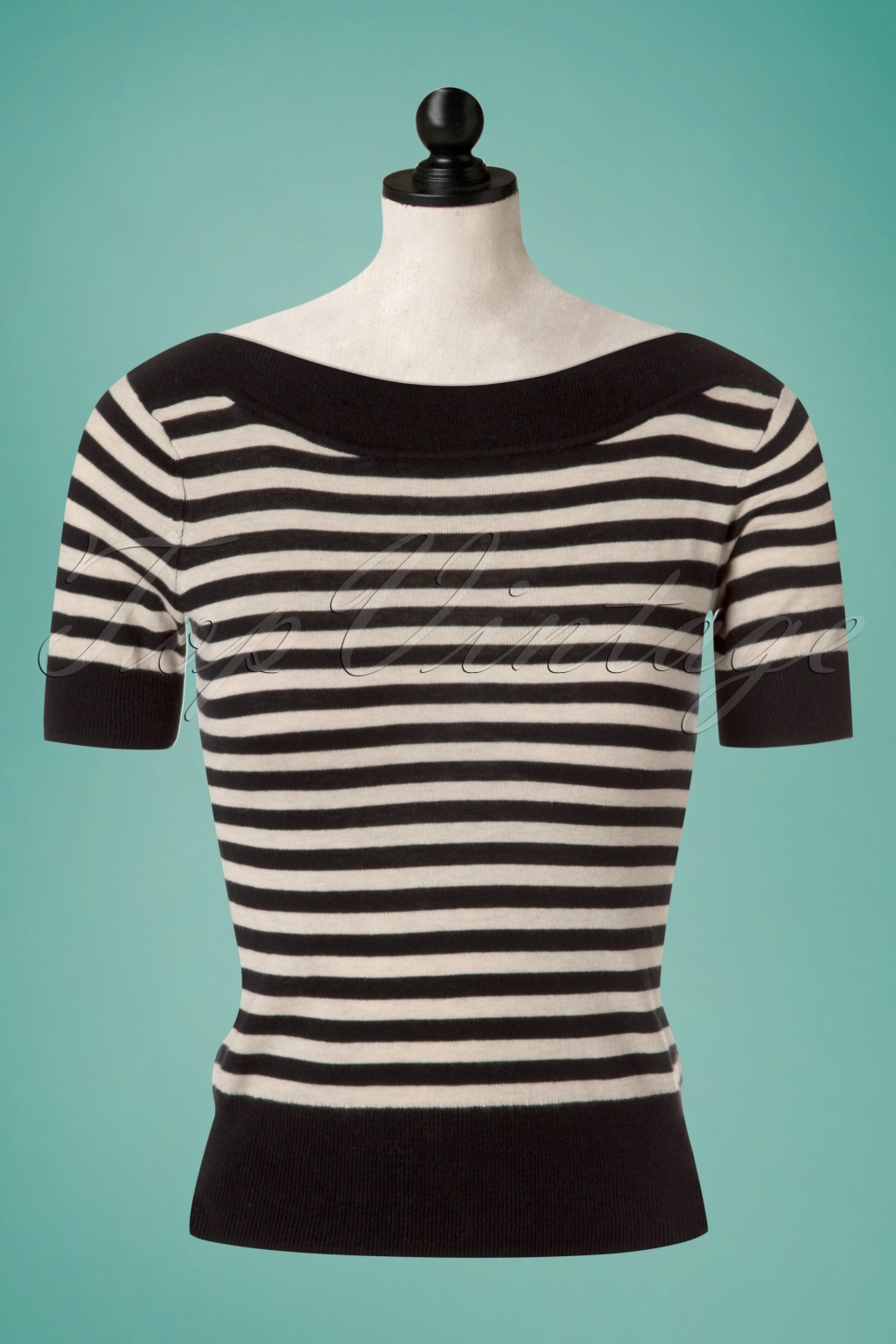 1940s Blouses, Shirts and Tops Fashion History 50s Audrey Ekko Stripes Top in Black Silk £60.76 AT vintagedancer.com