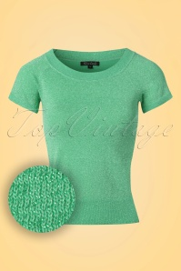 60s Lapis Glitter Boatneck Top in Lagoon Green