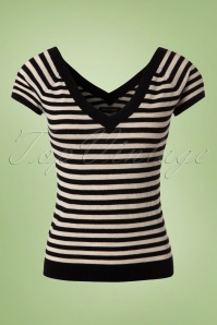 50s Ekko Double V Stripes Top in Black Silk