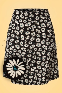60s Summer Meadow Borderskirt in Black
