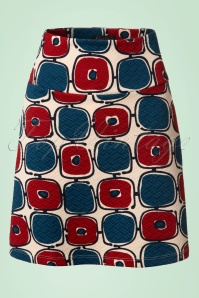 60s Solide Borderskirt in Cream Blue and Wine