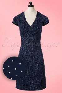 60s Little Dots Cross Dress in Nuit Blue