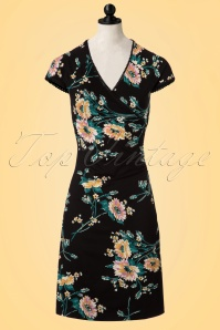 60s Breezy Flowers Cross Dress in Black