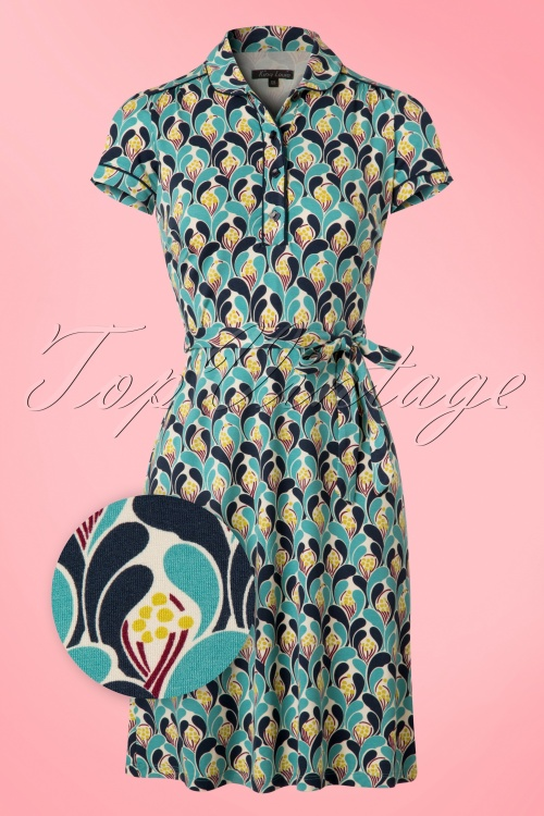 King Louie Polo Dress in Blue Cream 100 57 20275 20170214 0004wv