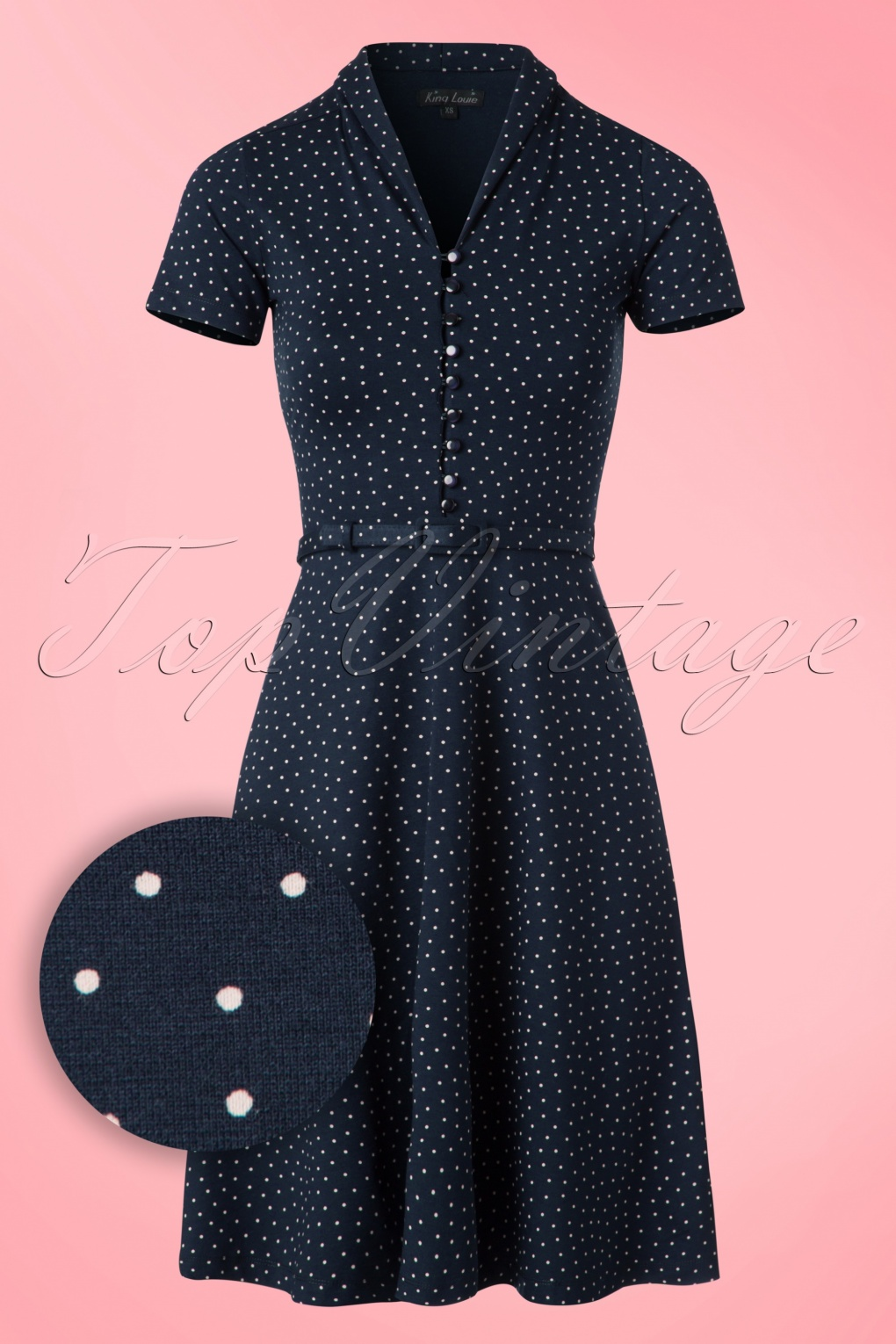 1950s Polka Dot Dresses 40s Emmy Little Dots Dress in Nuit Blue £86.82 AT vintagedancer.com