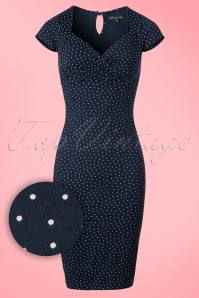 King Louie NuitBlue Pencil Dress with Polkadots 100 39 20264 20170214 0003W2