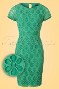 60s Mod Flower Lace Dress in Opal Green