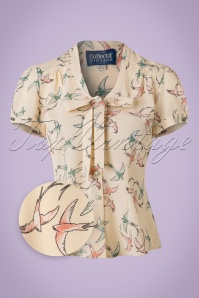 Collectif Clothing Tura Swallow Blouse in Cream 20786 20161202 0003wv