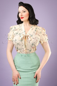 Collectif Clothing Tura Swallow Blouse in Cream 20786 20121224 0001w