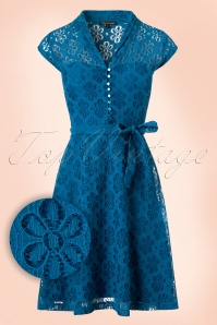 60s Emmy Flower Lace Dress in Sea Blue