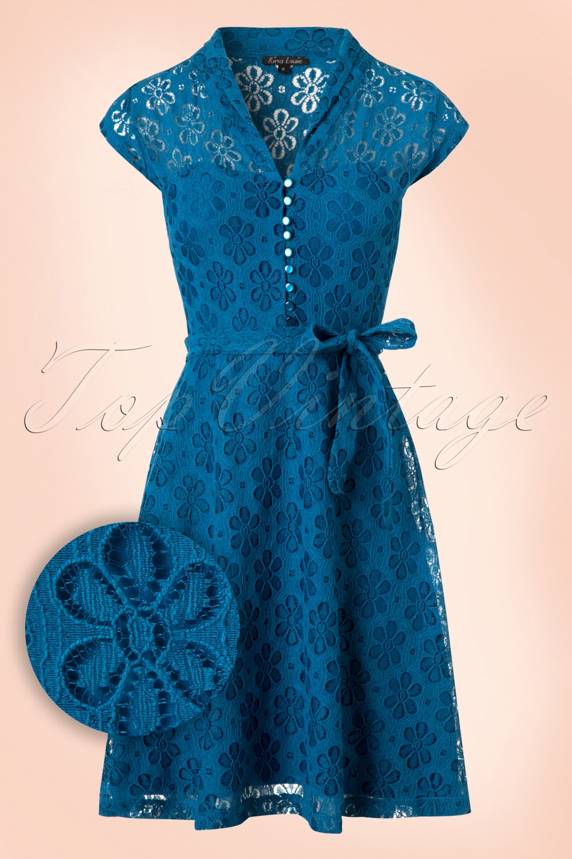 1960s Mod Dresses 60s Emmy Flower Lace Dress in Sea Blue £95.90 AT vintagedancer.com