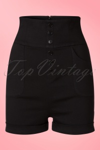 Collectif Clothing Nomi Plain Shorts in Black 20709 20161130 0004w