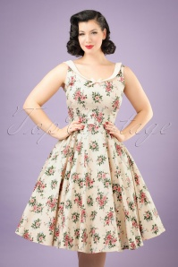 50s Maddison Floral Swing Dress in Beige