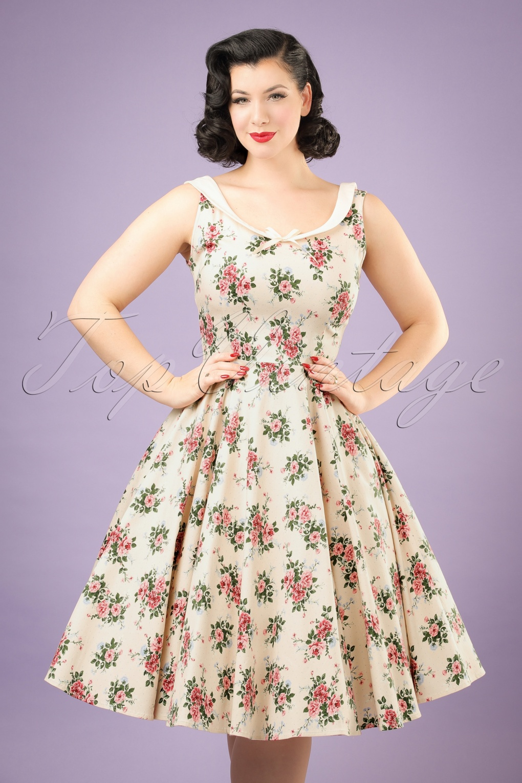 50s Dresses, Pinup Dresses, Swing Dresses 50s Maddison Floral Swing Dress in Beige £72.15 AT vintagedancer.com