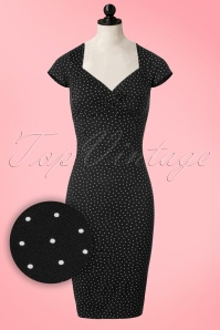 King Louie Black Pencil Dress with Polkadots 13791 20170214 0003popV